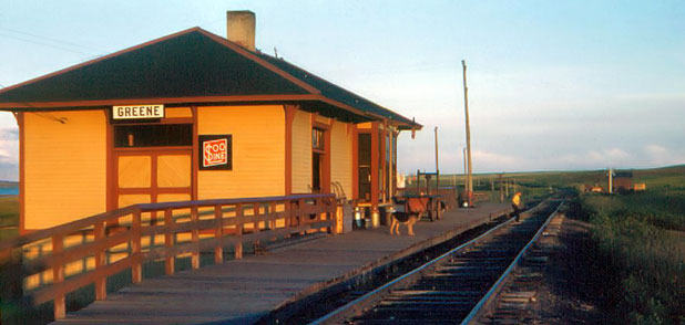 North end of the Soo Line Depot at Greene, North Dakota, 1951